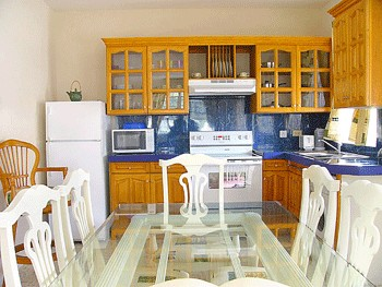 A fully equipped modern kitchen with facilities including fridge freezer, washing machine, microwave, toaster, stove, kettle, coffee maker,