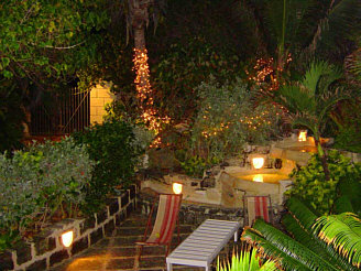 The garden at night.